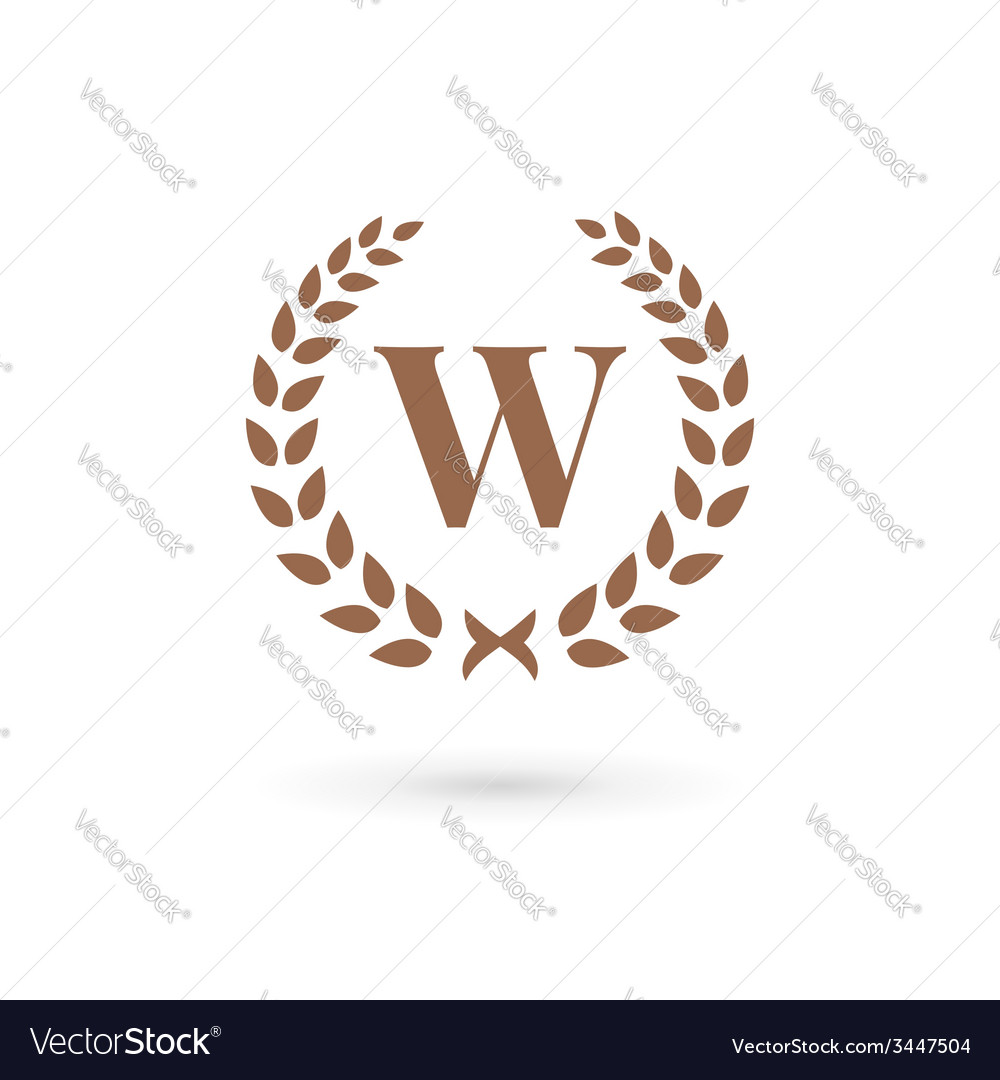 0a7fd77c Letter w laurel wreath logo icon design template Vector Image
