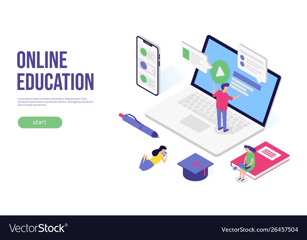 Online education concept 3d isometric flat banner