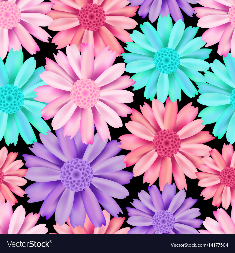 Pink And Blue Flower Seamless Pattern Royalty Free Vector