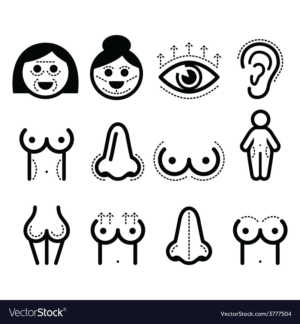 Plastic surgery beauty icons set