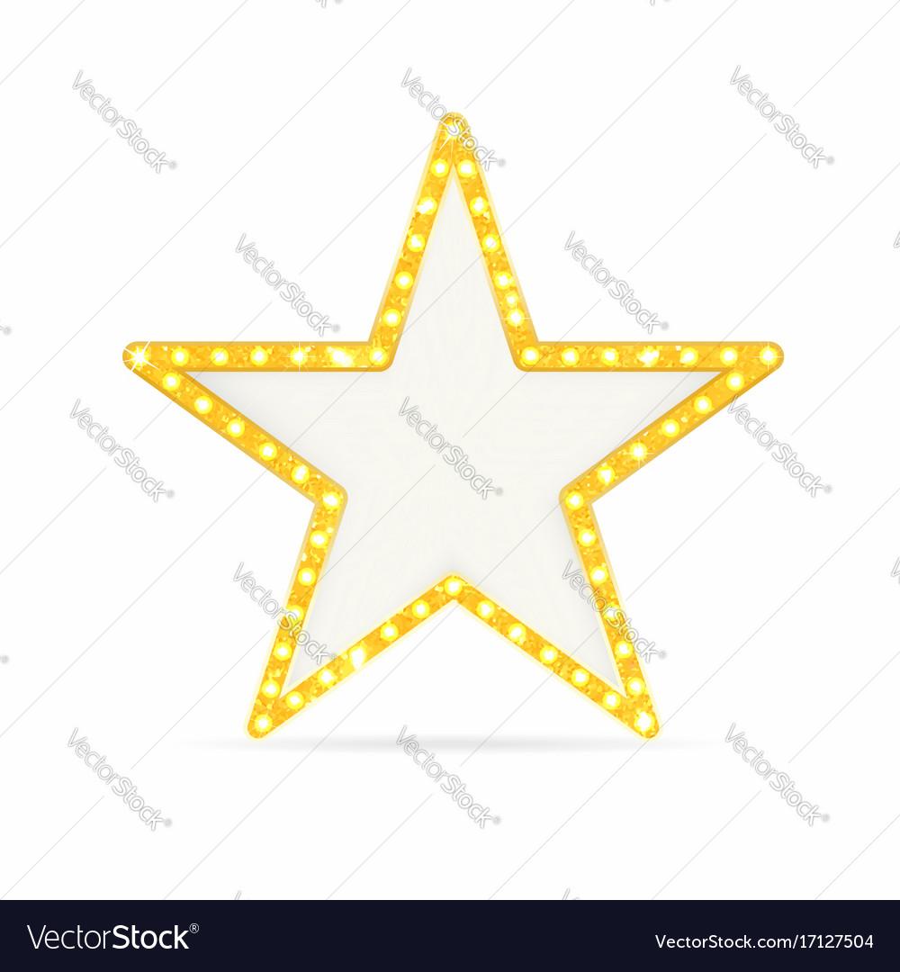 Retro gold star vintage frame with lights Vector Image