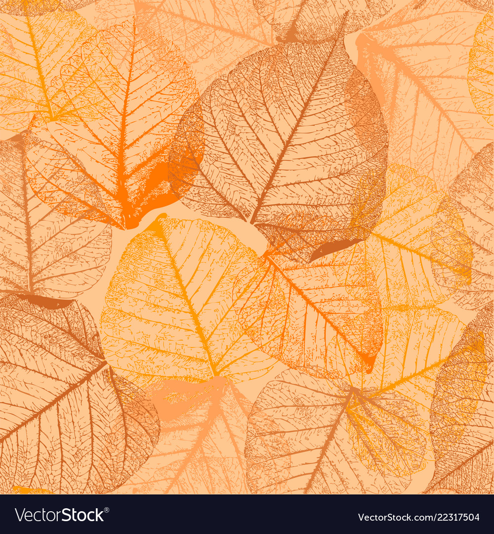 Seamless floral pattern with autumn leaves