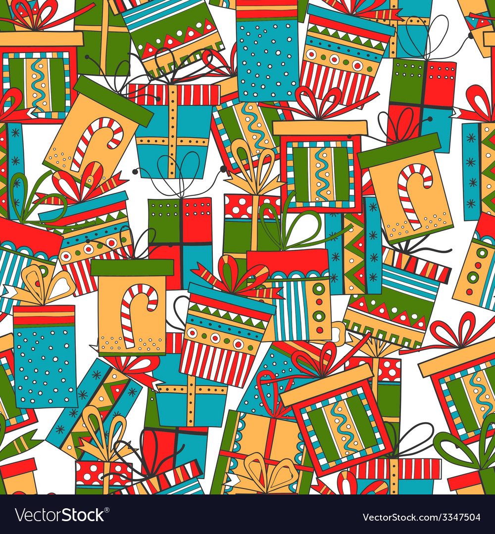 Seamless pattern of gift packages Christmas gifts