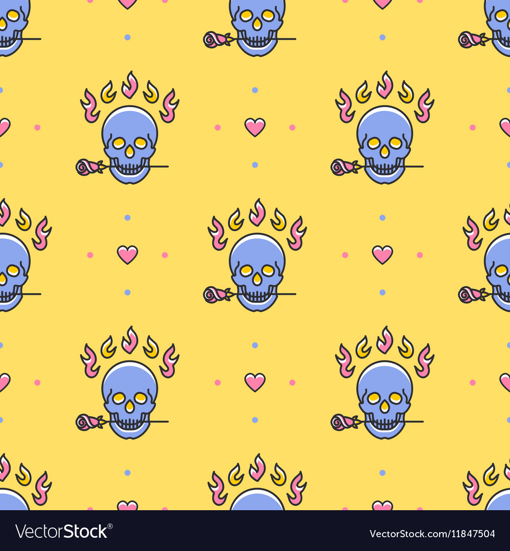 Skull seamless pattern icons skull rose