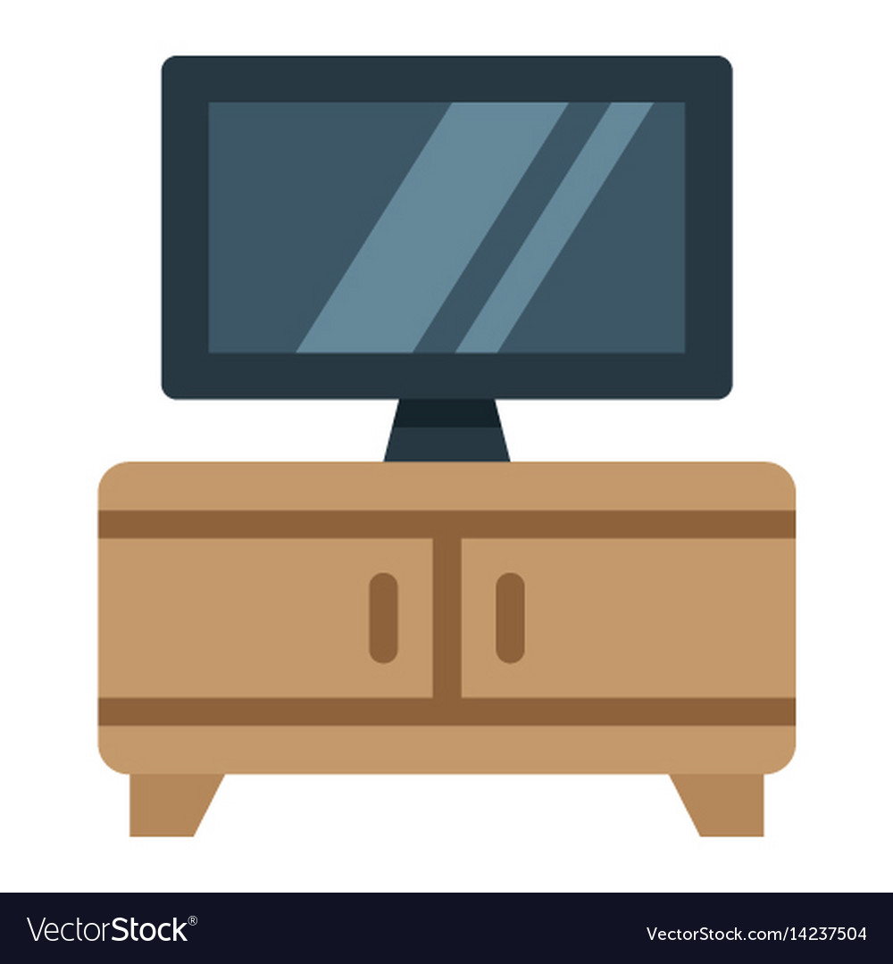 Tv bench flat icon furniture and interior vector image
