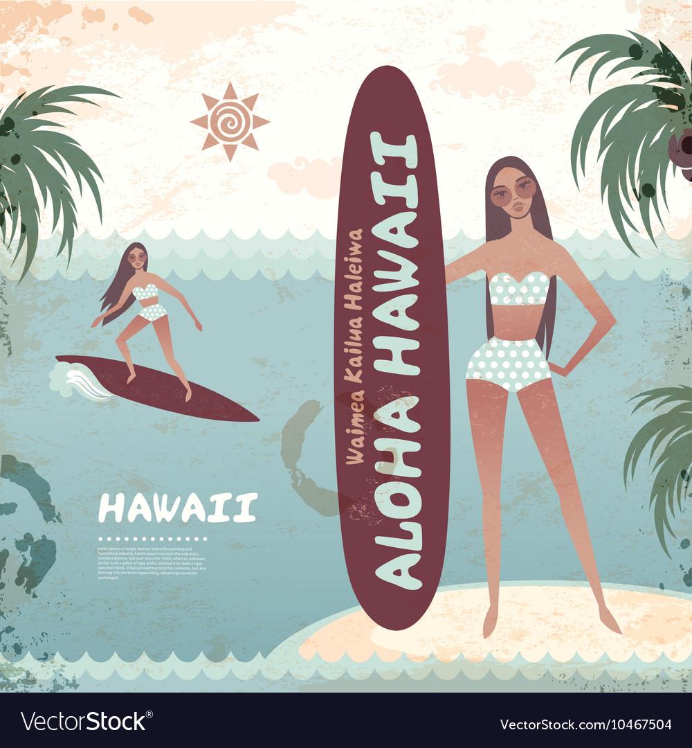 Vintage banner hawaiian island with a surf girl