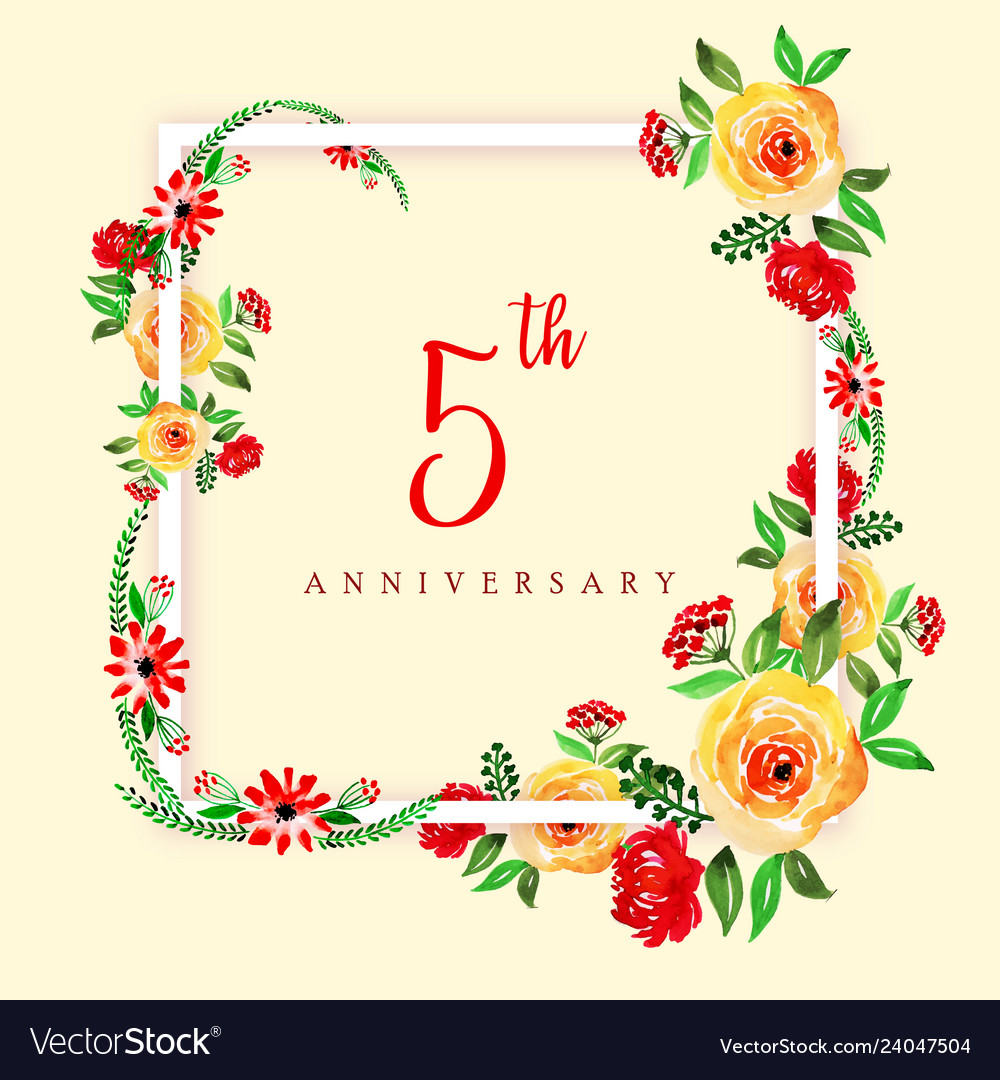Watercolor floral happy anniversary frame