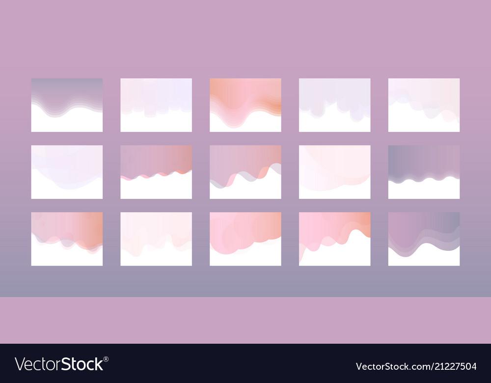 Website header design set in trendy pastel colors