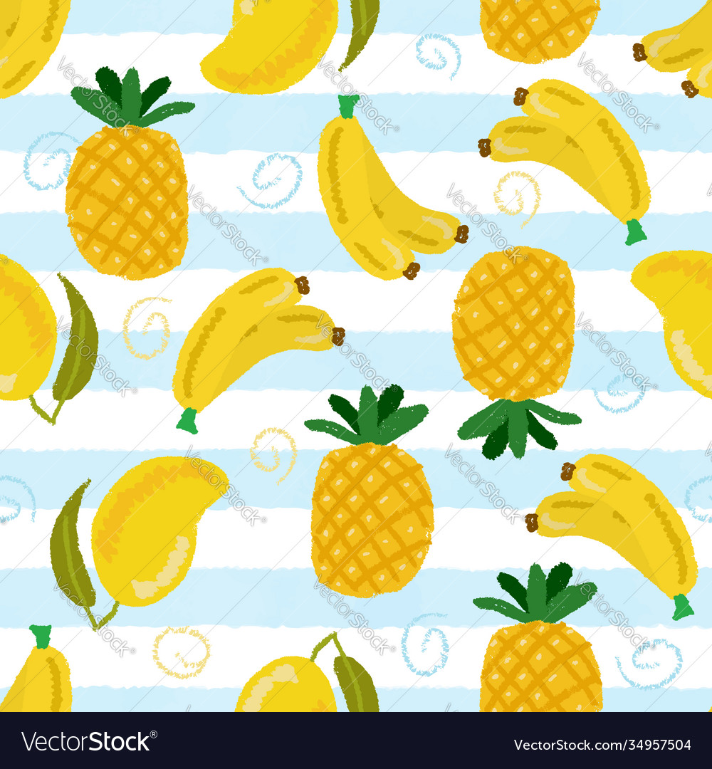 Yellow tropical fruit on blue strip background