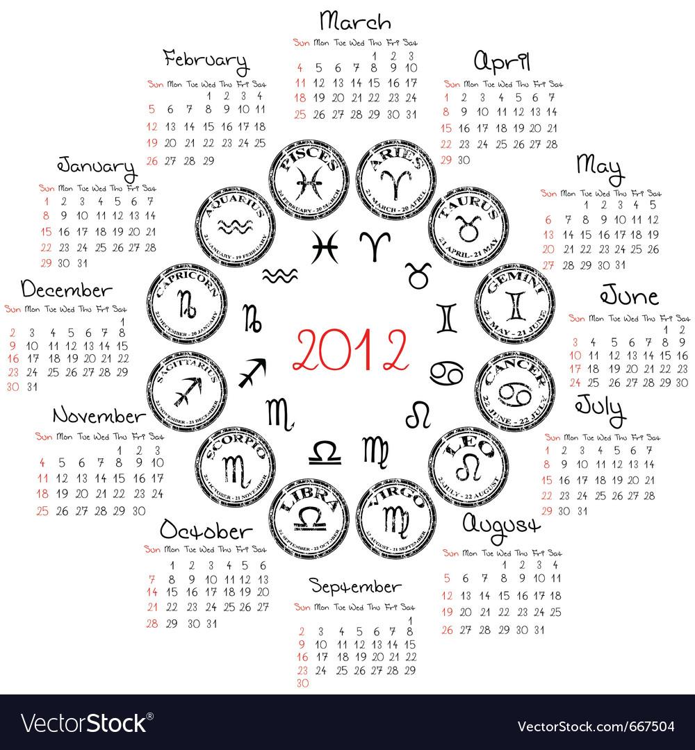 Zodiac Calendar June : Zodiac calendar royalty free vector image vectorstock