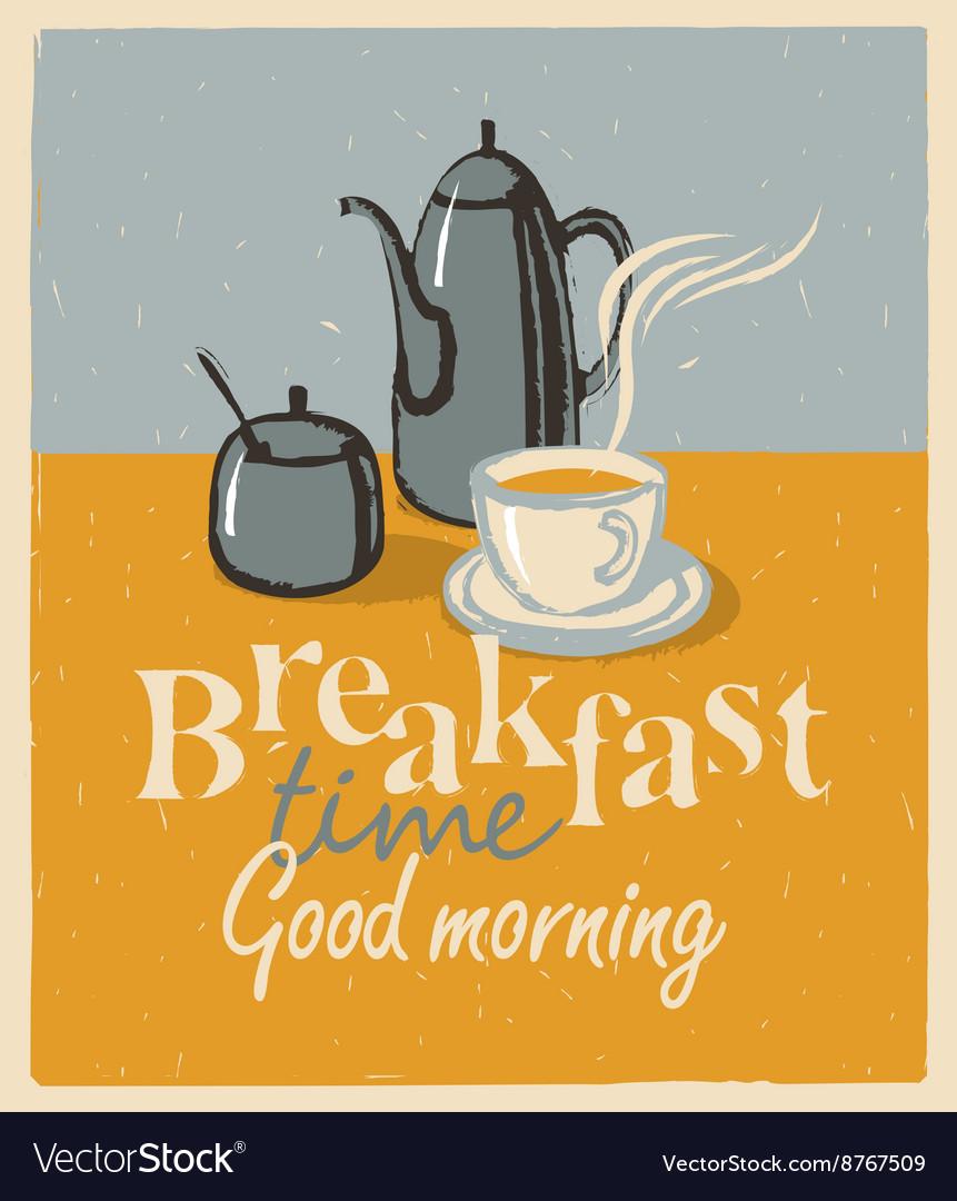 Breakfast tea cup and teapot