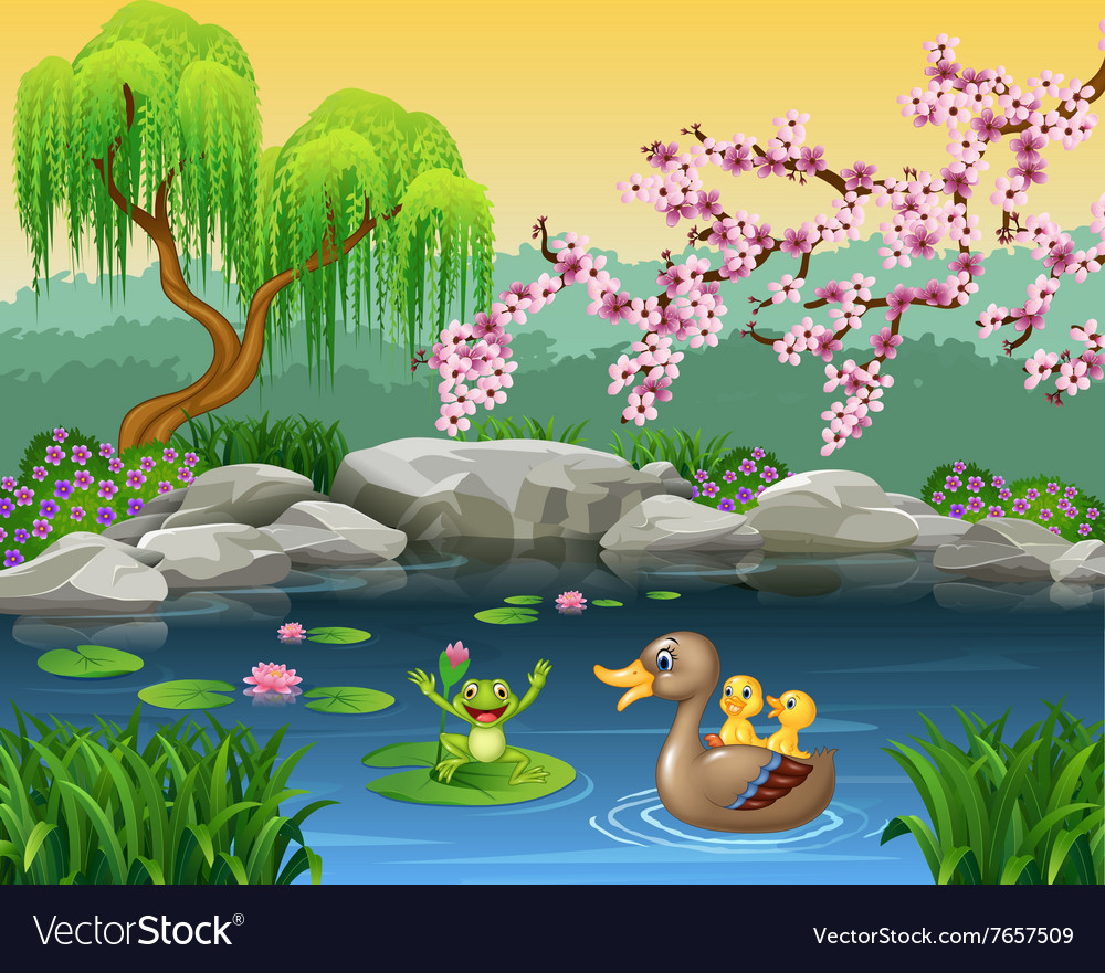 Cartoon funny mother duck with frog on the lily wa