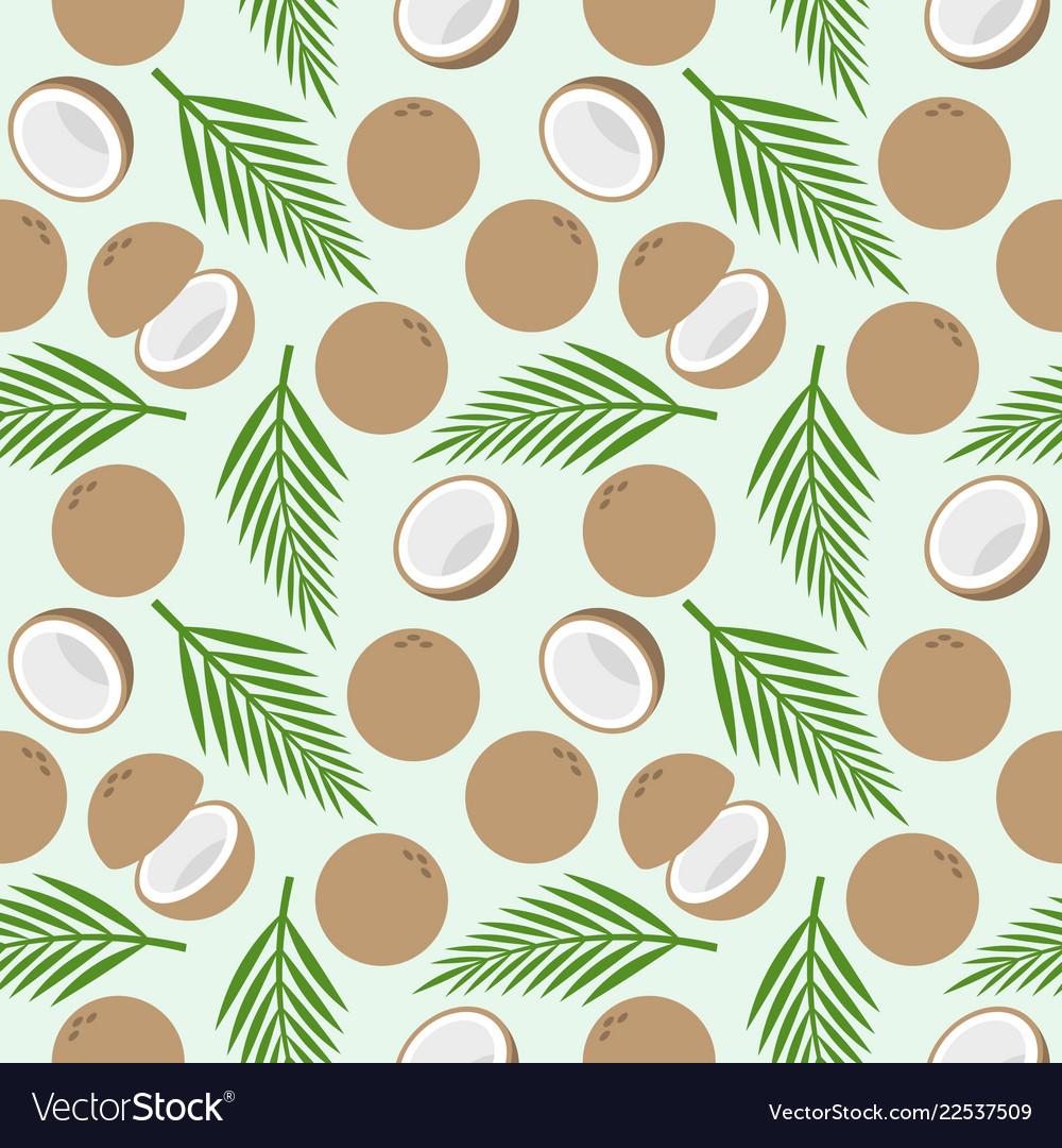 Island Christmas Theme.Coconut Seamless Pattern Island Theme For