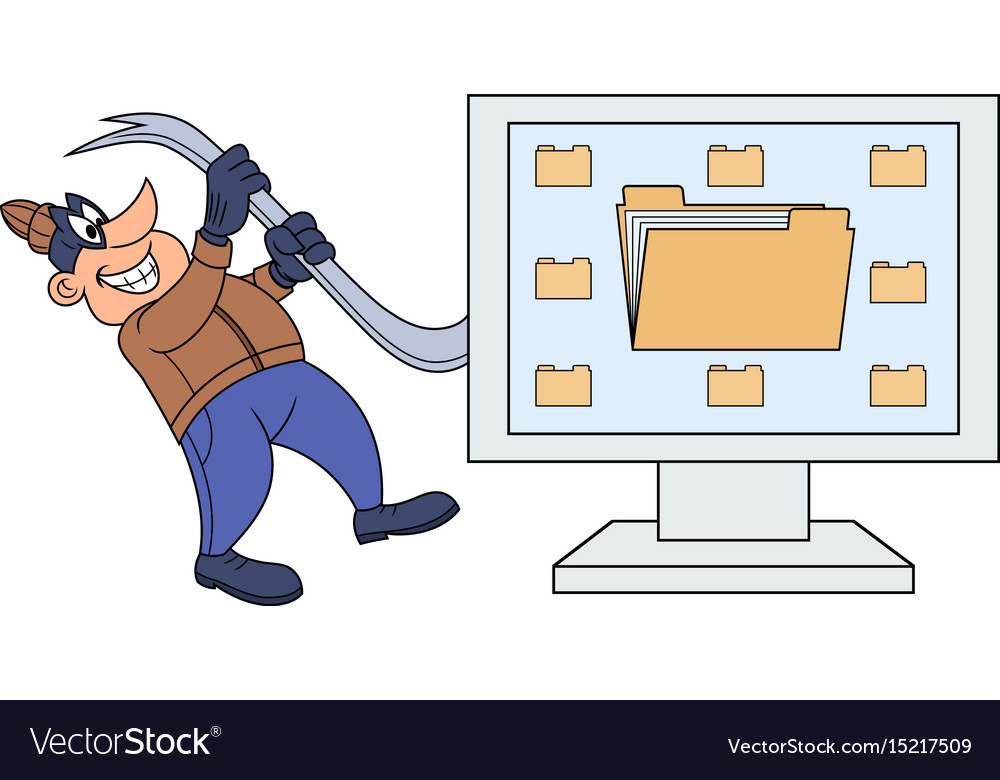 Computer thief with a crowbar vector image