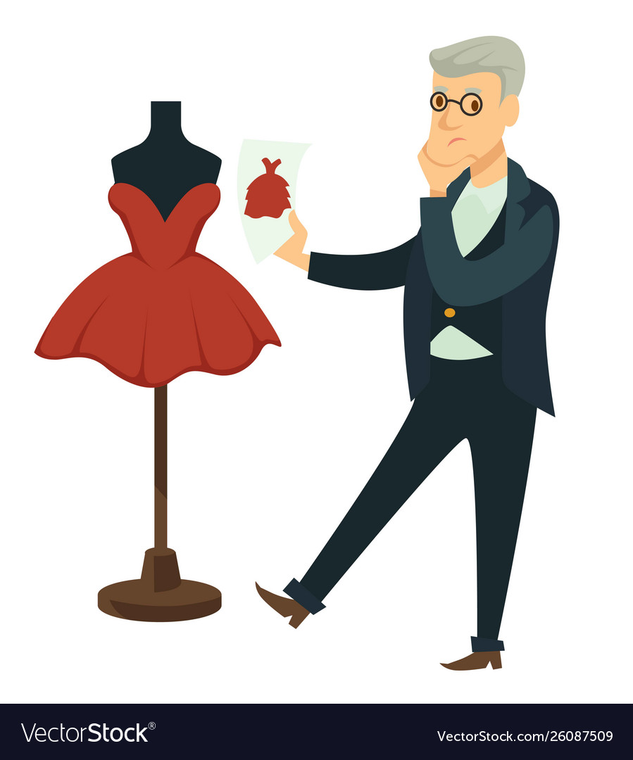 Fashion Designer Comparing Dress To Draft Tailor Vector Image