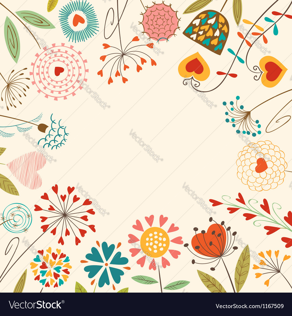 Floral hearts card vector image