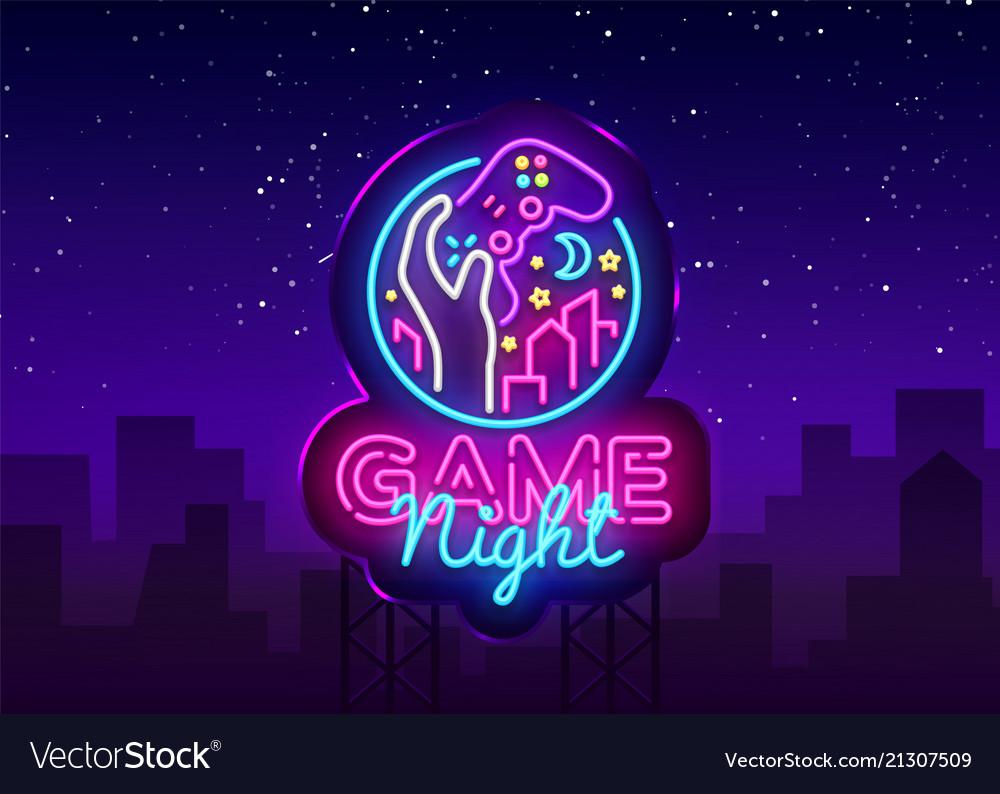 Game night neon sign logo design template