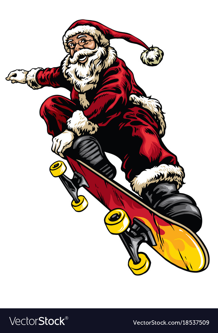 Hand drawing style of santa claus riding