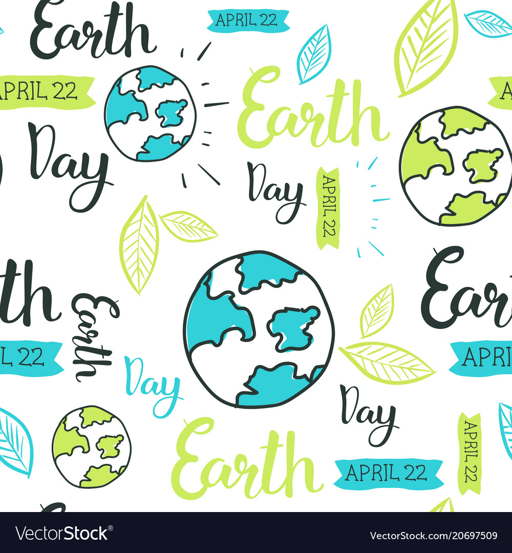 Happy earth day seamless pattern with hand drawing