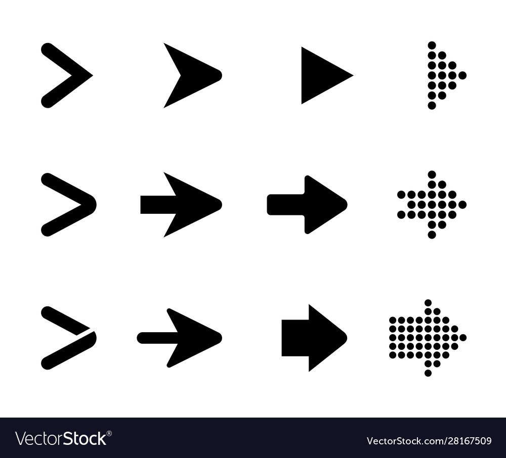 Set black arrows arrows collection
