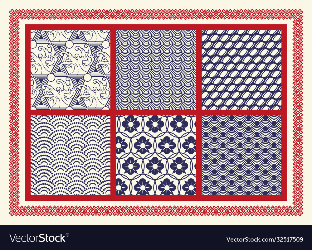 Set seamless patterns on asian theme
