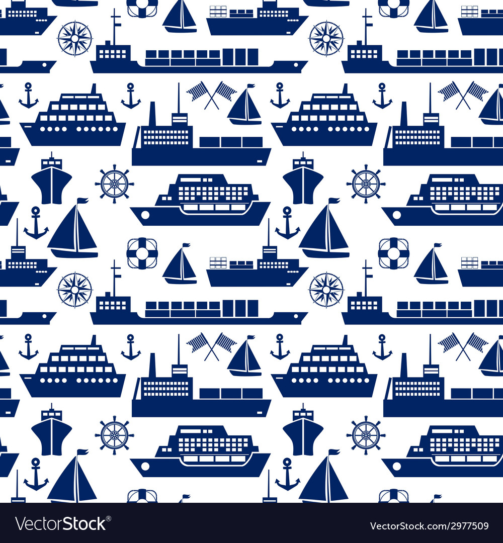 Ships and boats marine seamless background vector image