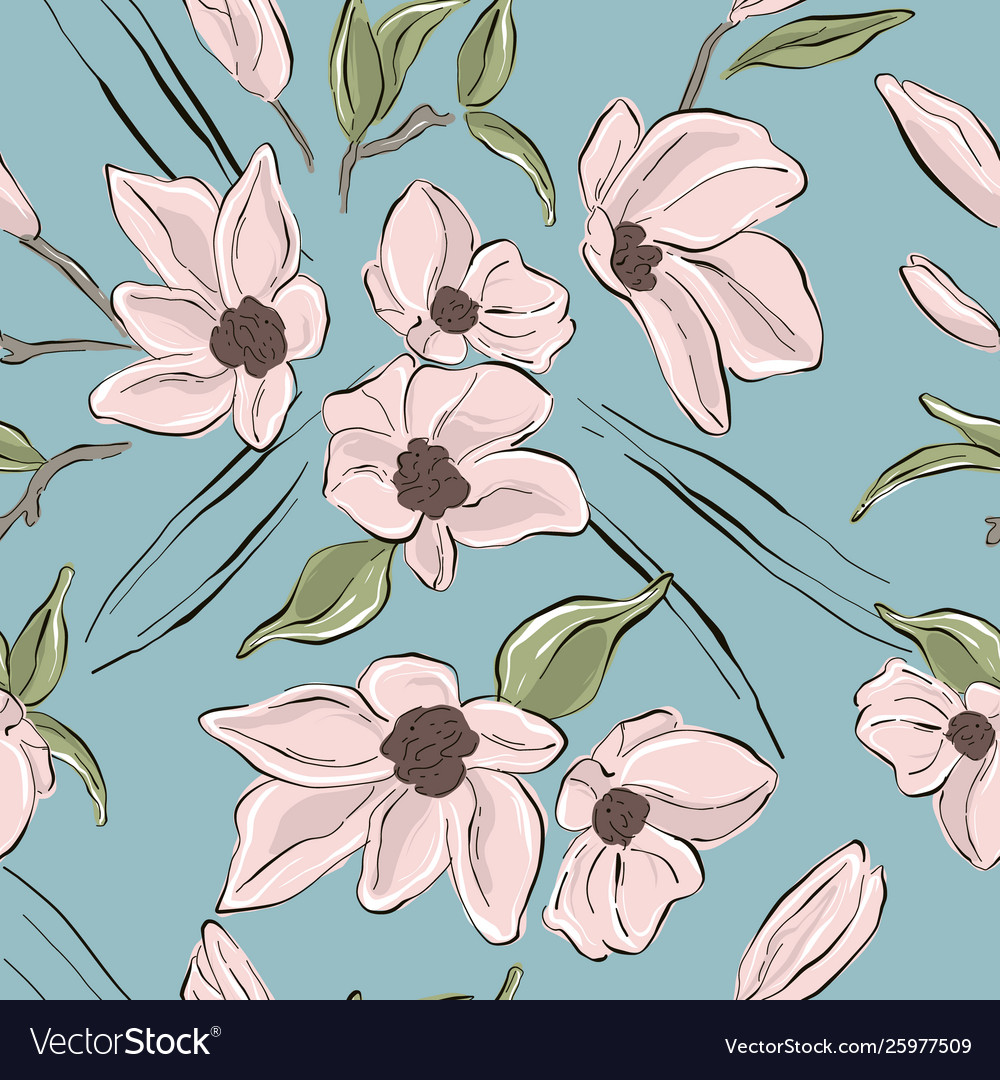 Tender Blush Flowers On Blue Background Pastel Vector Image