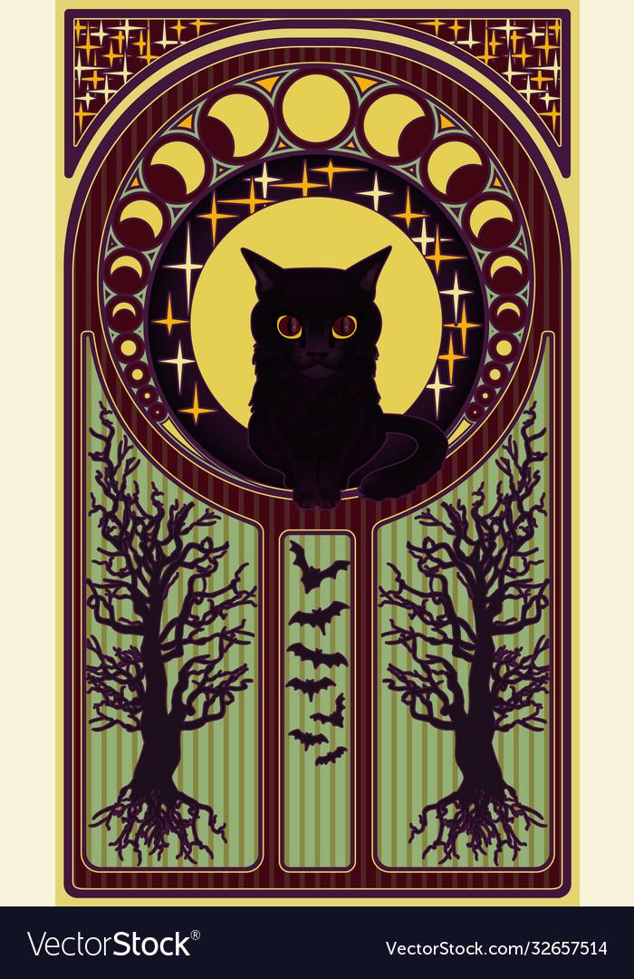 Black cat and moon art nouveau style card