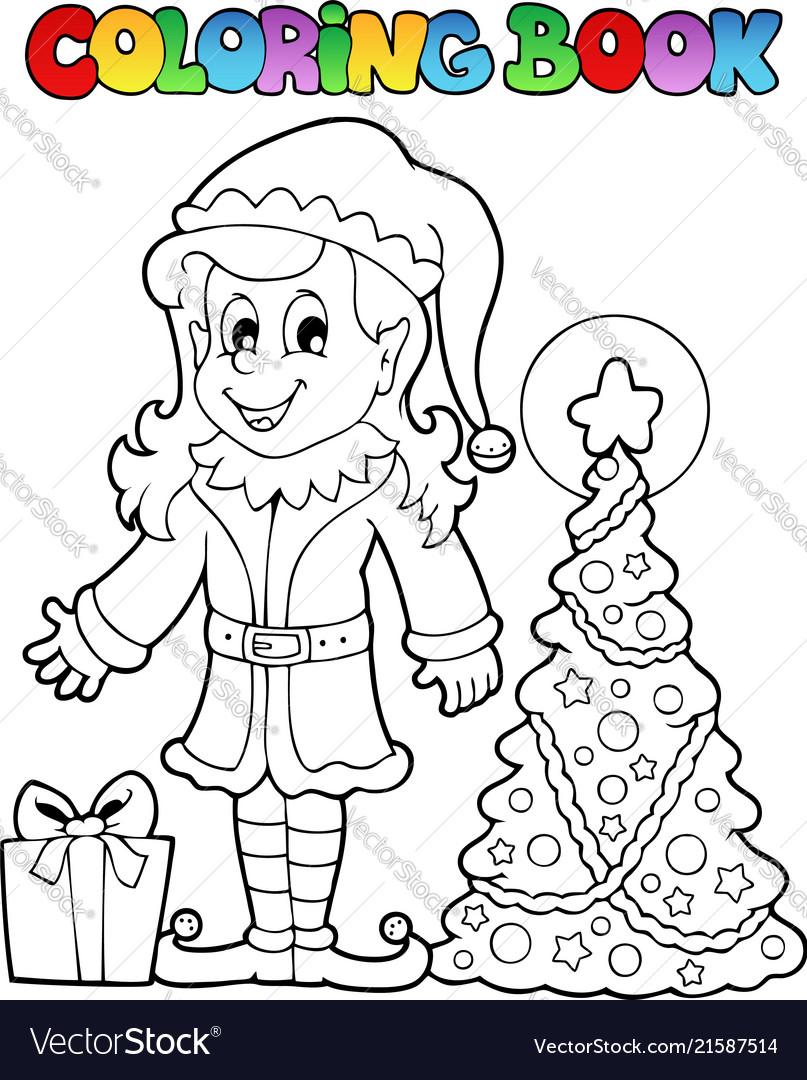 Coloring book christmas elf theme 3 Royalty Free Vector