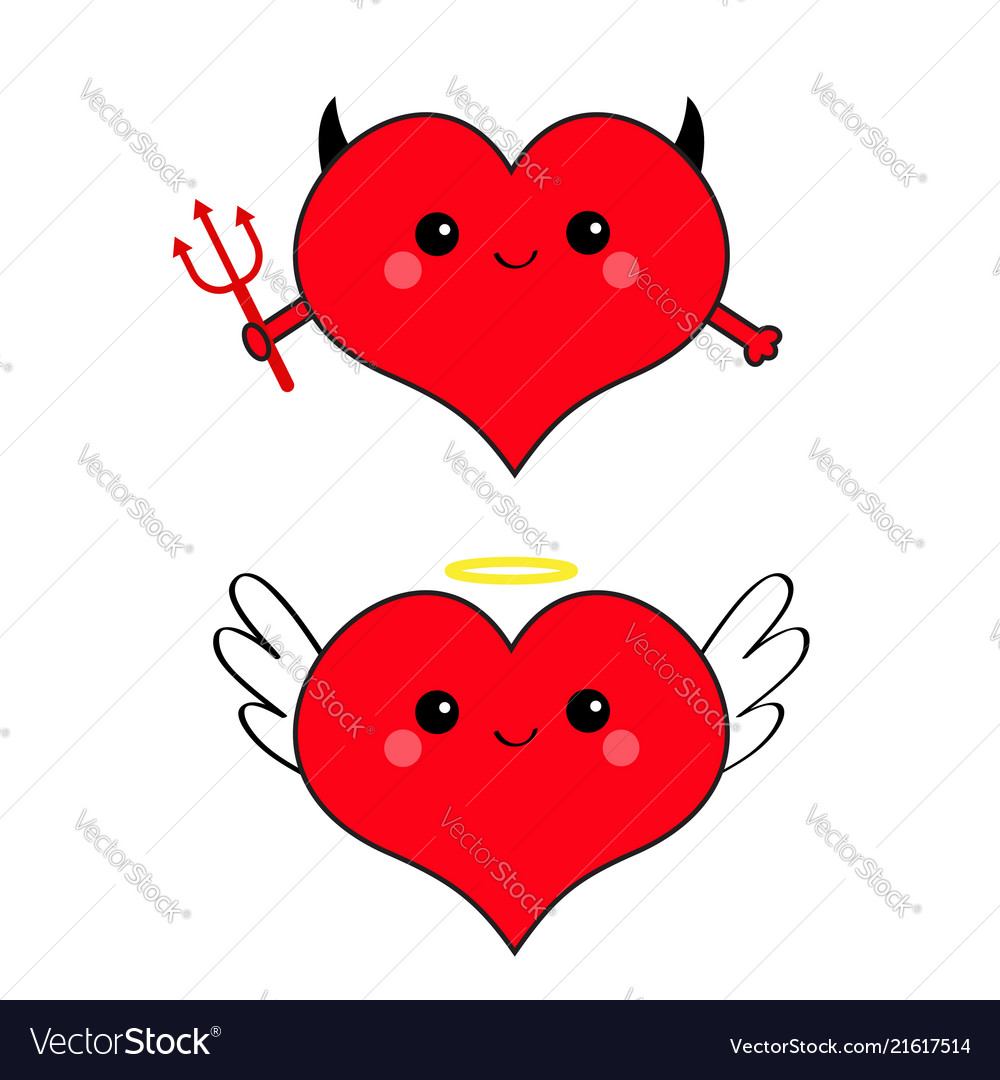 Devil angel evil amour red heart face head icon