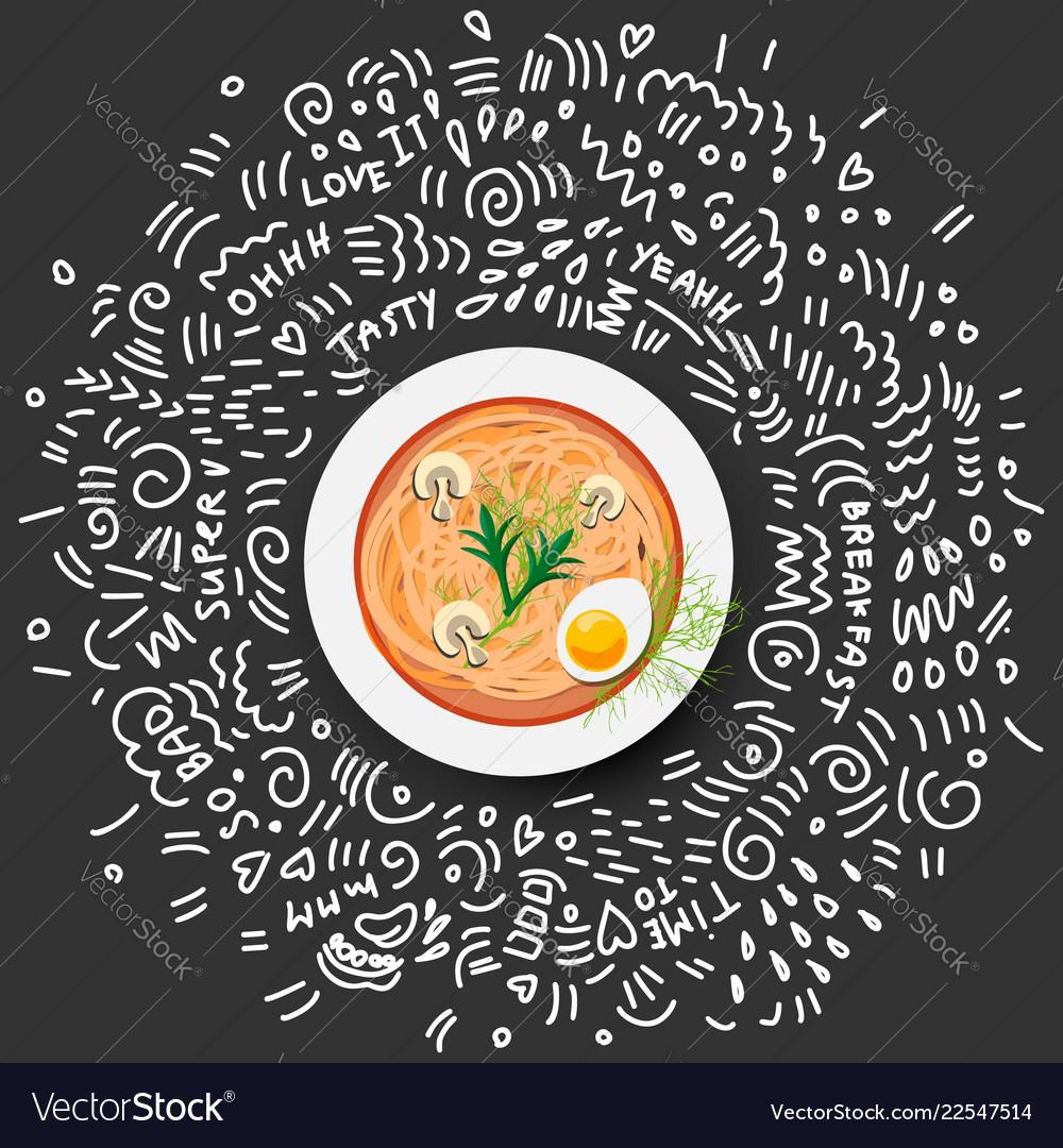 Minestrone italian vegetable and mushroom soup