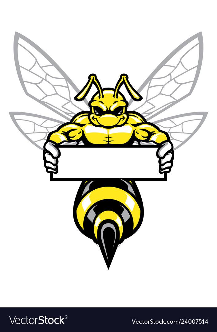 Muscular wasp hornet holding banner