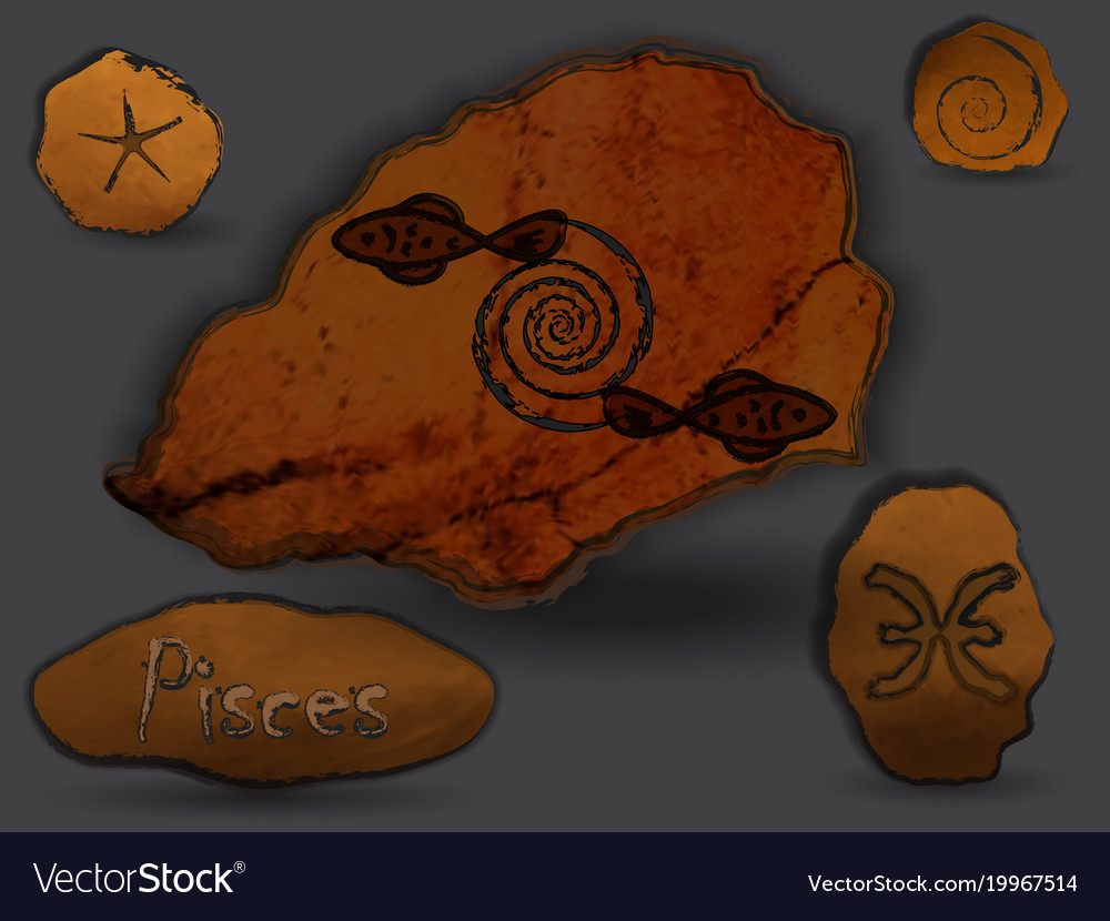 Pisceszodiac in the form of cave painting