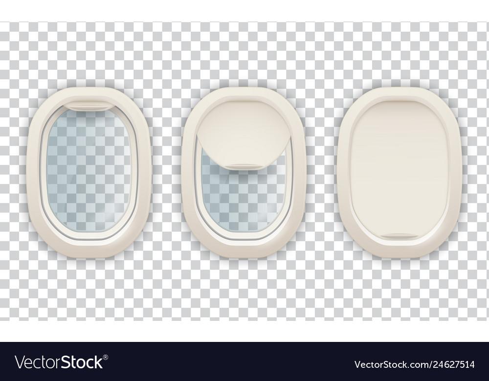 Realistic airplane porthole aviation and tourism