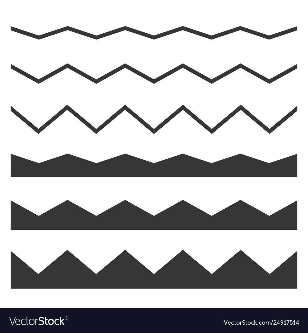 Seamless wave and zigzag pattern set on white