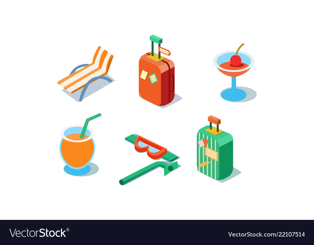 Set of isometric travel icons beach chair
