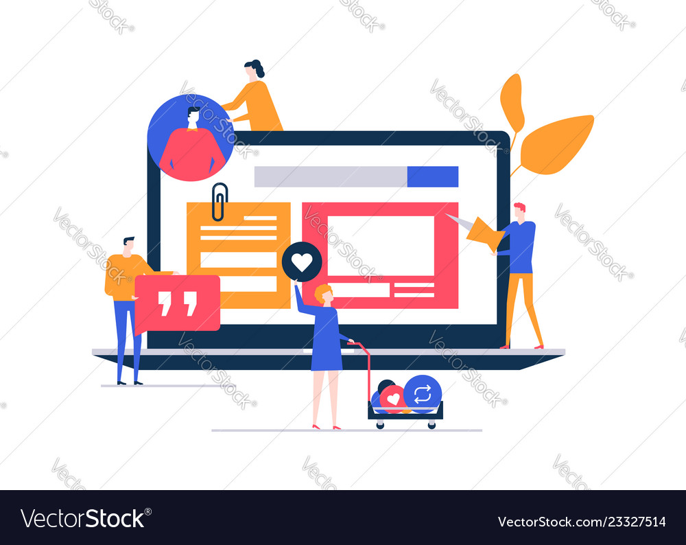 Smm strategy - flat design style colorful