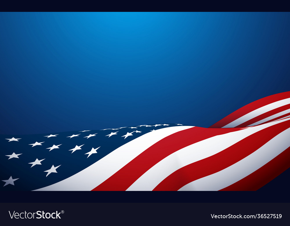 American flag waving on blue background