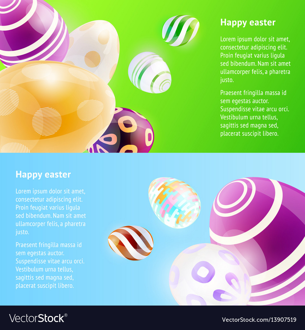 Horizontal banners with easter eggs