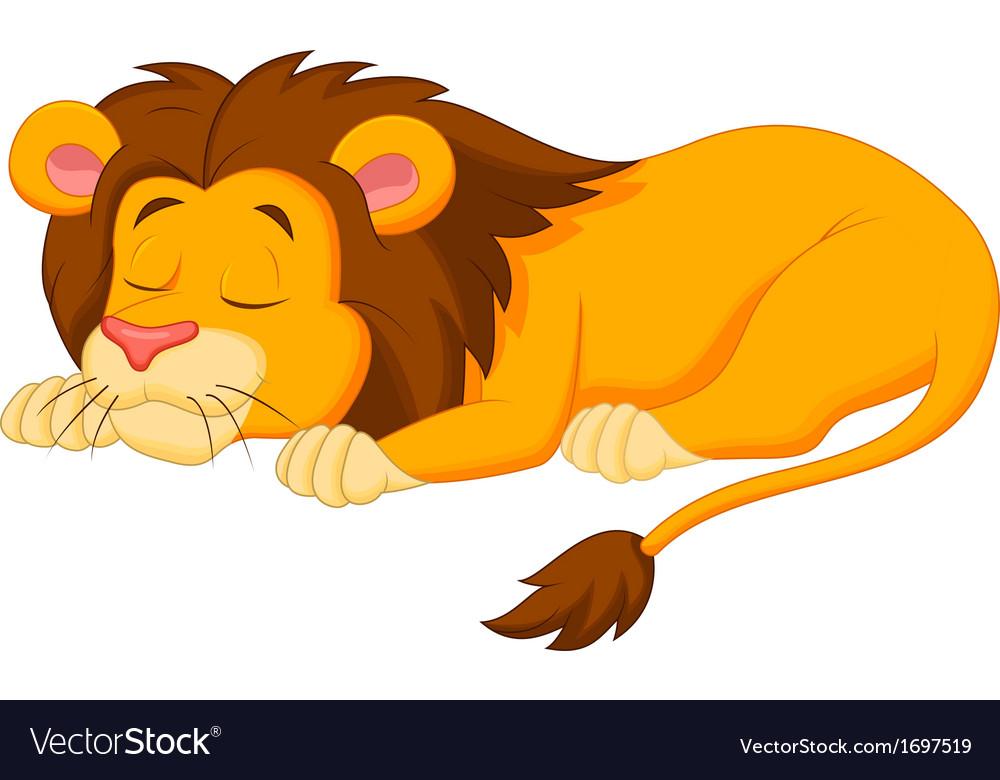 Lion cartoon sleeping vector image
