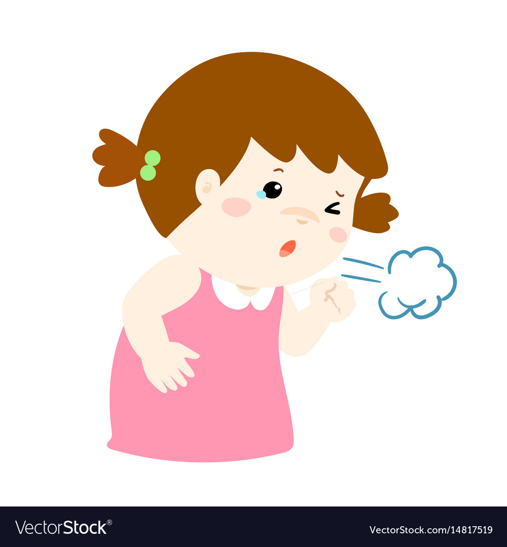 little girl coughing cartoon royalty free vector image vectorstock