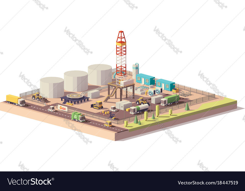 Low poly land oil and gas drilling rig