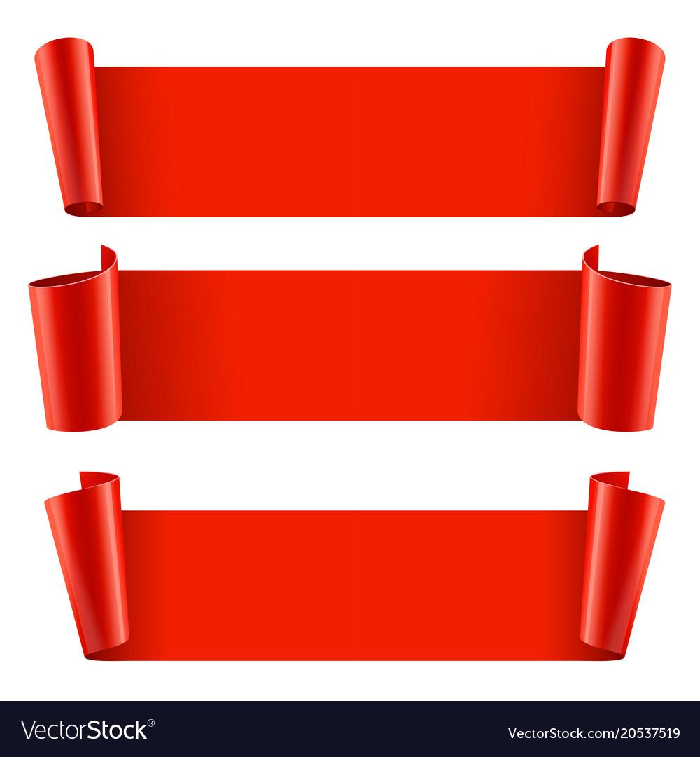 Ribbons set realistic red glossy paper ribbon