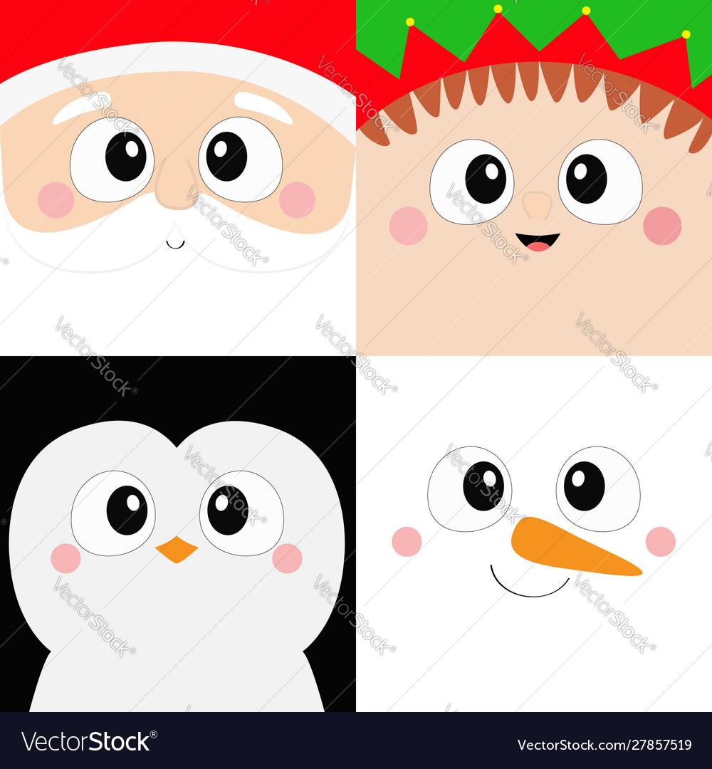 Santa claus elf penguin bird snowman square face