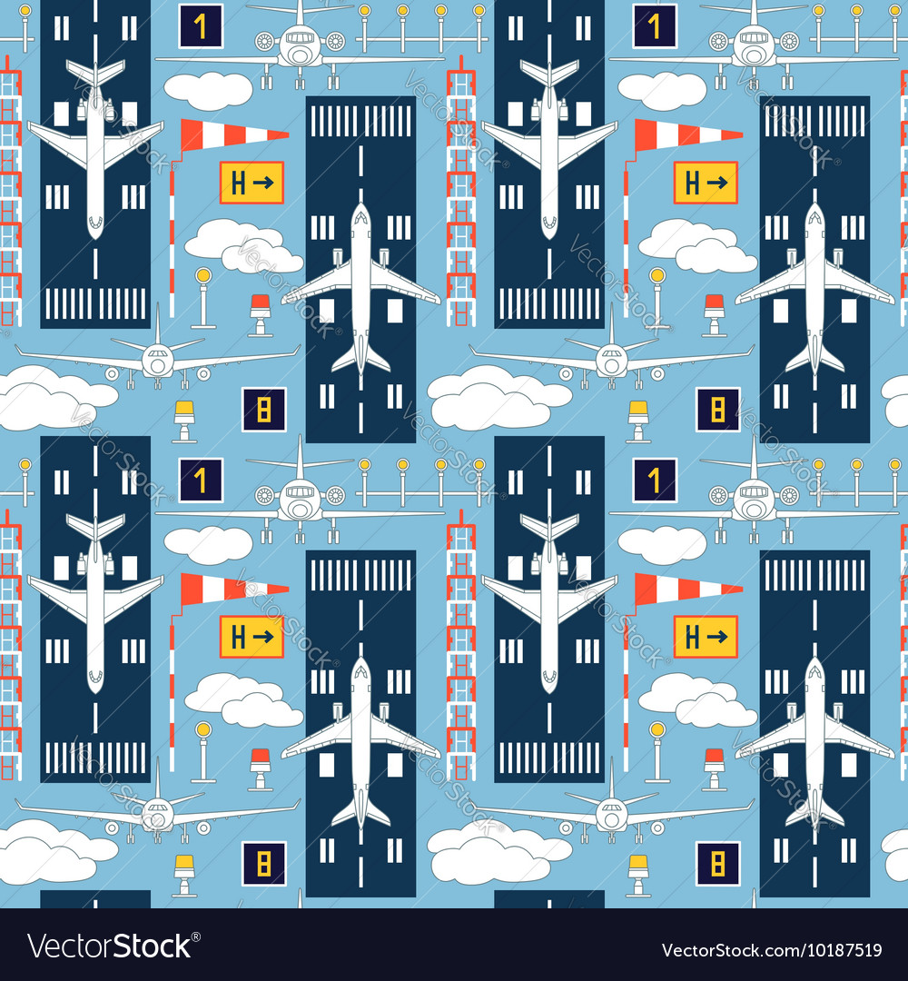 Seamless pattern with passenger airplanes 06