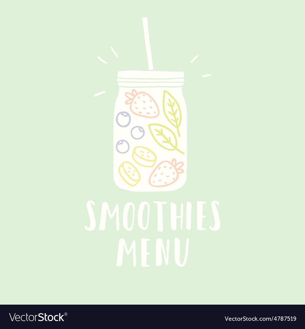 Smoothies menu with jar full of