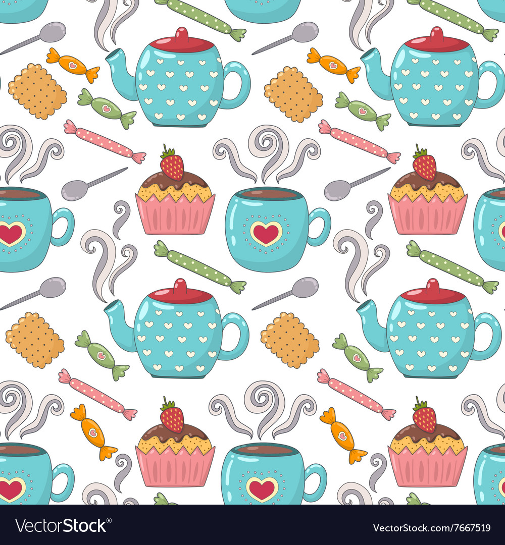 Tea time cute seamless pattern vector image