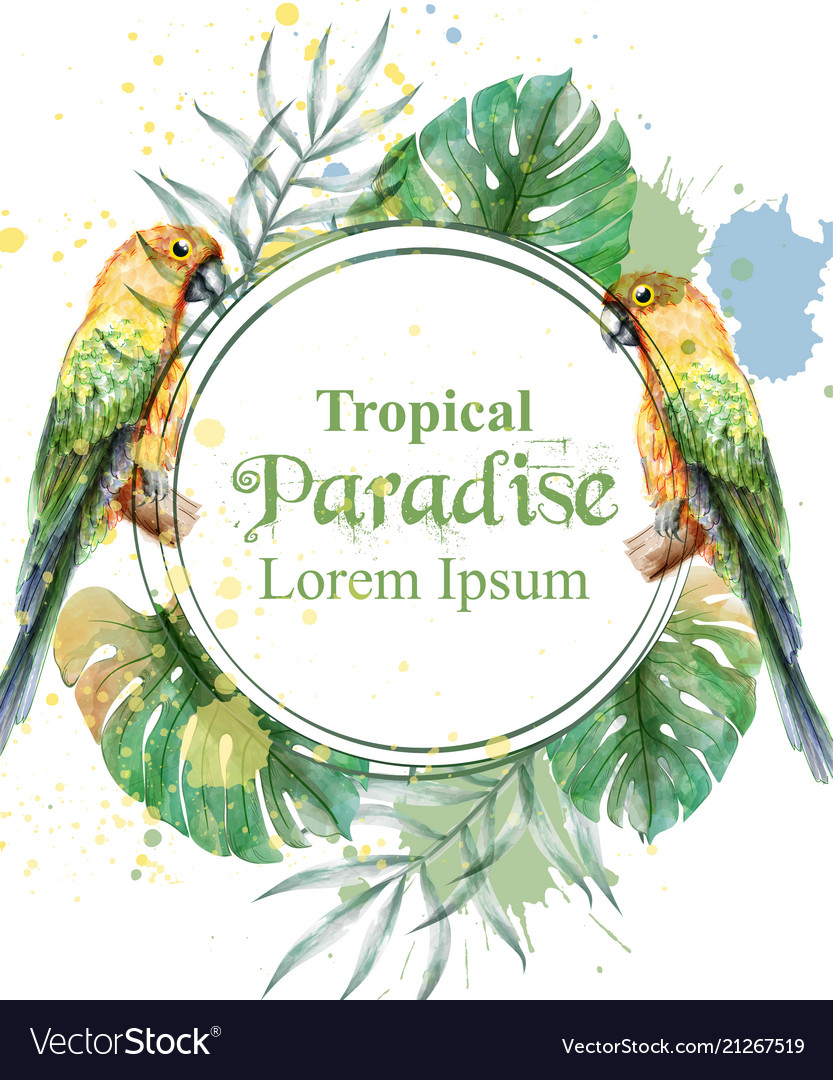 Tropical paradise frame with watercolor parrots