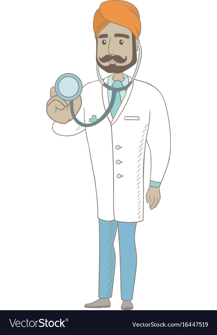 Young indian doctor holding a stethoscope vector image