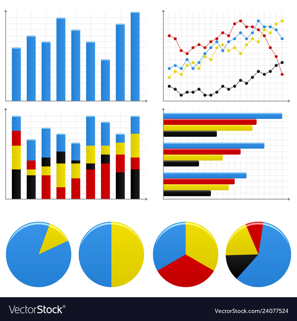 Bar pie graph chart a set of bar charts and pie